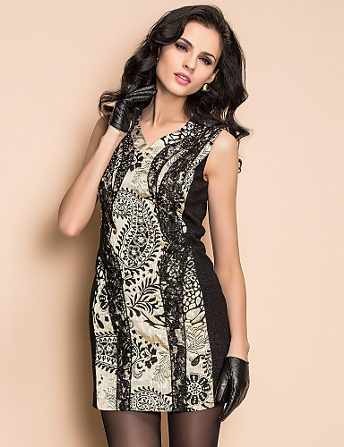TS High End Lace And Rhinestone Panel Dress