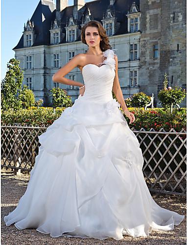 Βραδινή τουαλέτα Ένας Ώμος Μακρύ Οργάντζα Φορέματα γάμου φτιαγμένα στο μέτρο με Φούστα με πιασίματα / Λουλούδι / Πλαϊνό Ντραπέ με LAN TING BRIDE®