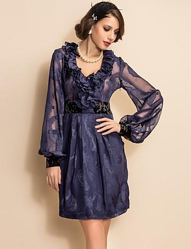 ts vintage jacquard chiffon søm fløyel langermet kjole