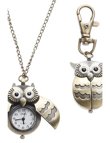 5975e7da18b Mulheres senhoras Relógio de Bolso Porta-Chaves Relógio Colar com Relógio  Quartzo Bronze Analógico Fashion - Bronze Um ano Ciclo de Vida da Bateria    SSUO ...