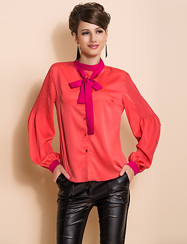TS галстук-бабочку слоеного рукав блузки рубашки