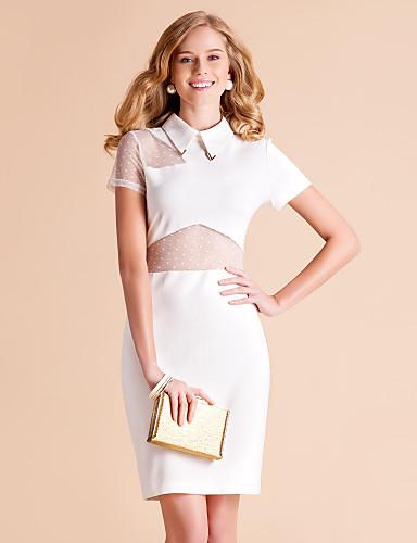 TS Simplicity Pointed Collar Mesh Splicing Slim Sheath Dress