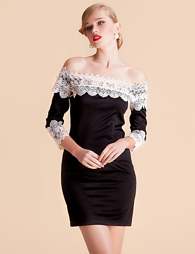 TS Kontrasti Väri Lace Off Shoulder Bodycon Dress