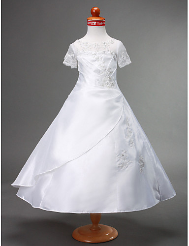 Rochie de mireasa lungime floare fata rochie - dantelă taffeta mâneci scurte bijuterie gât cu beading de lan ting bride®