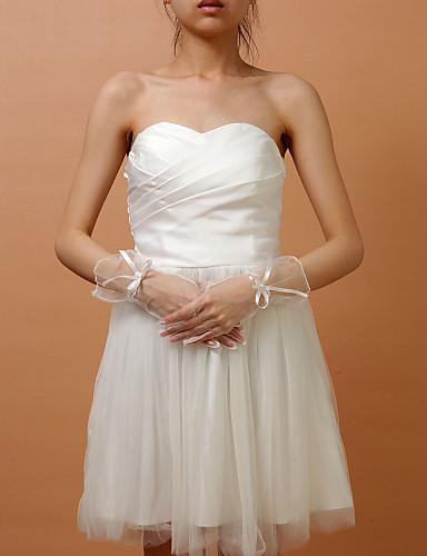Tull Wrist Länge Fingertips Hochzeit Brauthandschuhe mit Schleife