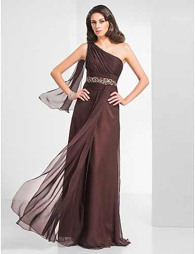 Sheath / Column One Shoulder Floor Length Chiffon Prom / Formal Evening / Military Ball Dress with Beading Ruched by TS Couture®