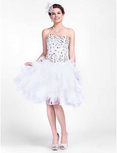 vestido querida bola de mini tafetá curto / e organza vestido de cocktail / baile