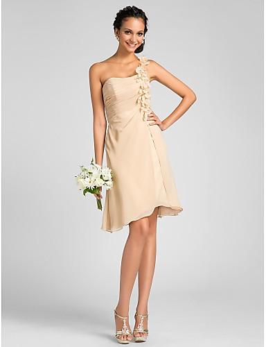 Eng anliegend Ein-Schulter Knie-Länge Chiffon Brautjungfernkleid mit Blume Seitlich drapiert durch LAN TING BRIDE®