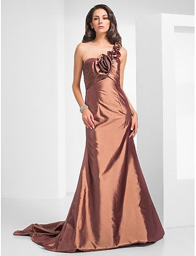 Mermaid / Trumpet One Shoulder Court Train Taffeta Formal Evening / Military Ball Dress with Flower Ruffles Criss Cross by TS Couture®