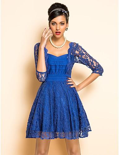 TS VINTAGE U Neck Lace Swing Dress