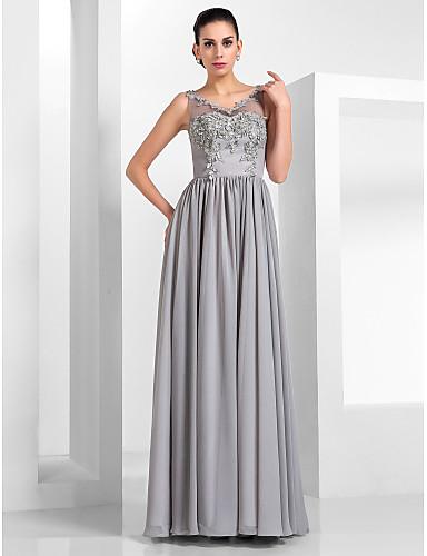 abordables robe invitée mariage-Trapèze Illusion Neck Longueur Sol Mousseline de soie / Tulle Robe avec Appliques par TS Couture®