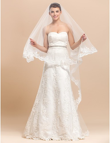 One Layers Chapel Wedding Veil With Lace Applique / Finished Edge