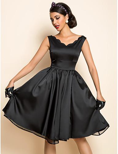 Винтаж До колена Платье, Глубокий V-образный вырез Плиссировка Однотонный Без рукавов