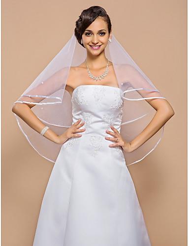 One-tier Ribbon Edge Wedding Veil Elbow Veils 53 Pearls 55.12 in (140cm) Tulle A-line, Ball Gown, Princess, Sheath/ Column, Trumpet/
