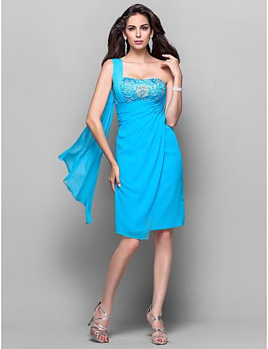Eng anliegend Ein-Schulter Knie-Länge Chiffon Cocktailparty Kleid mit Perlenstickerei Kristall Verzierung Spitze Seitlich drapiert durch
