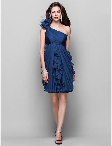 Eng anliegend Ein-Schulter Knie-Länge Chiffon Cocktailparty Kleid mit Kaskaden Rüschen / Blume durch TS Couture®