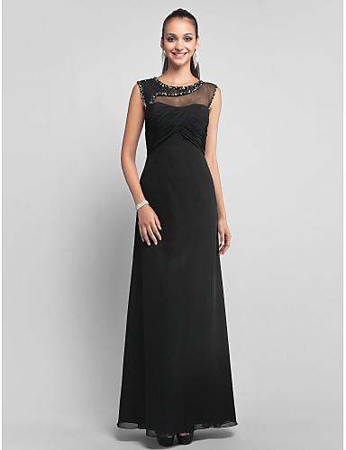 Sütun Illüzyon boyun çizgisi Yere Kadar Şifon Tül Boncuklama Haç ile Balo / Resmi Akşam Elbise tarafından TS Couture®