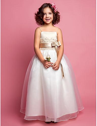 A-Şekilli Spagetti Askılı Yere Kadar Organze Saten Boncuklama ile Çiçekçi Kız Elbisesi tarafından LAN TING BRIDE®