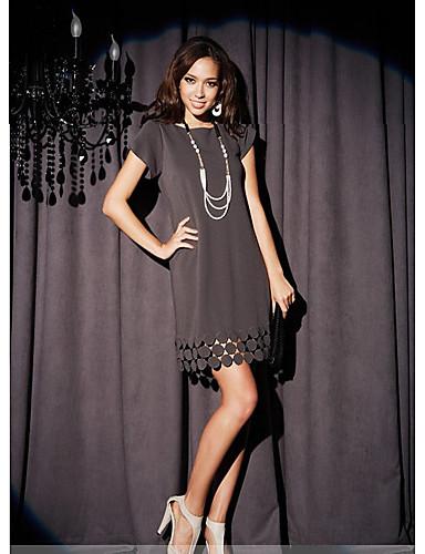 Kadın's Kombinezon Elbise - Solid, Desen Diz üstü
