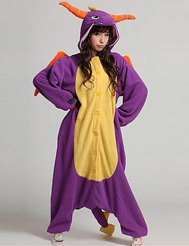 Kigurumi Pajamas Dragon Dinosaur Onesie Pajamas Coral fleece Purple Cosplay  For Men and Women Animal Sleepwear Cartoon Halloween Festival   Holiday 56d5a41e5