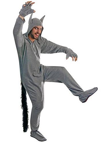 tanie Piżamy kigurumi-Dla dorosłych Piżama Kigurumi Wilk Zwierzę Piżama Onesie Poliester Cosplay Dla Mężczyźni i kobiety Animal Piżamy Rysunek Festiwal/Święto Kostiumy