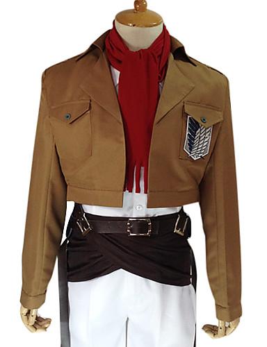 povoljno Anime kostimi-Inspirirana Napad na Titanu Mikasa Ackermann Anime Cosplay nošnje Japanski Cosplay Suits Jednobojni Dugih rukava Kaput / Shirt / Hlače Za Muškarci / Žene