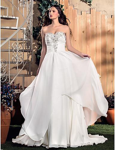 337fcbb27086 Klassisk och tidlös/Glamorös och dramatisk A-linje Brudklänning (Chiffong)  Älsklingsringning Svepsläp