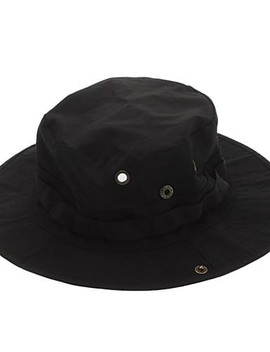 billige Tilbehør-Hatt til turbruk Solhatt Hatt Cap Pustende Svart Unisex Camping & Fjellvandring Ensfarget