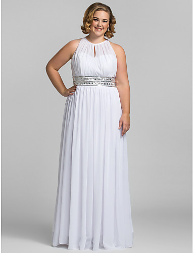 ca5b795142c2 Plus Size Sheath / Column Halter Neck Floor Length Chiffon Celebrity Style  / Keyhole Prom / Formal Evening Dress with Sequin / Pleats by TS Couture®