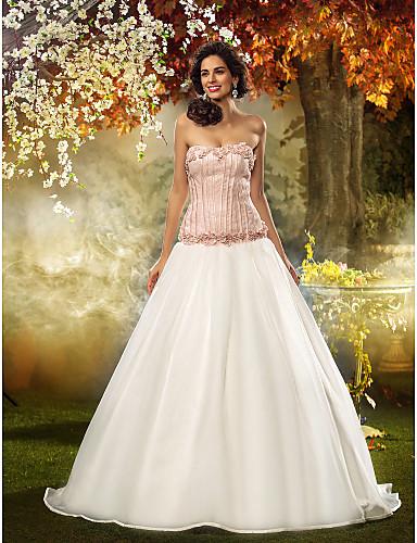 Mulată Fără Bretele Mătura / Trenă Dantelă / Organza Made-To-Measure rochii de mireasa cu Flori de LAN TING BRIDE® / Rochii de Miresă Colorate
