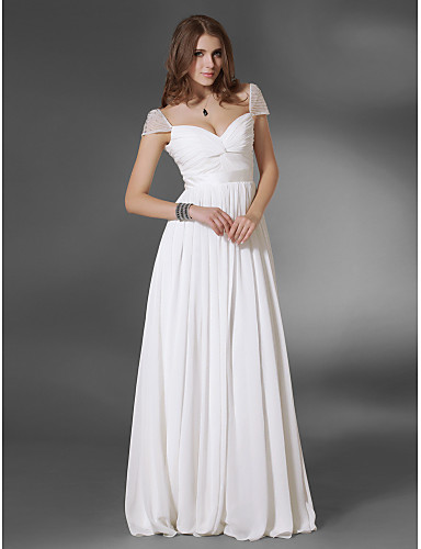 A-Line V Neck Floor Length Chiffon Prom / Formal Evening Dress with Sash / Ribbon / Ruched by TS Couture®