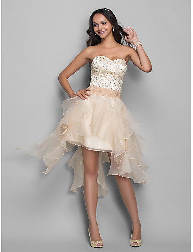 cheap Prom Dresses-A-Line Sweetheart Neckline Asymmetrical Organza / Stretch Satin High Low Cocktail Party Dress with Beading / Cascading Ruffles by TS Couture®