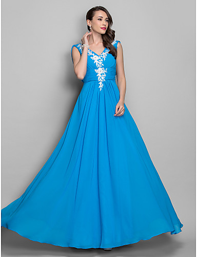 A-Line Princess V Neck Floor Length Chiffon Prom Formal Evening Military Ball Dress with Beading Appliques Draping Ruched Criss Cross by