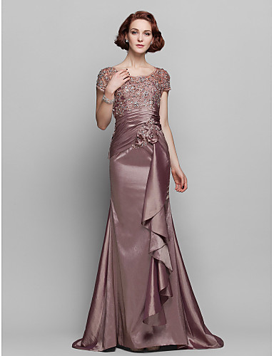Mermaid / Trumpet Scoop Neck Sweep / Brush Train Taffeta / Beaded Lace Mother of the Bride Dress with Flower by LAN TING BRIDE® / See Through