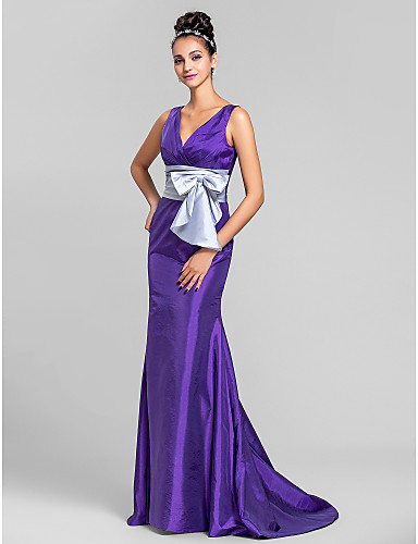 Mermaid / Trumpet V Neck Sweep / Brush Train Taffeta Bridesmaid Dress with Bow(s) Ruched Criss Cross by LAN TING BRIDE®
