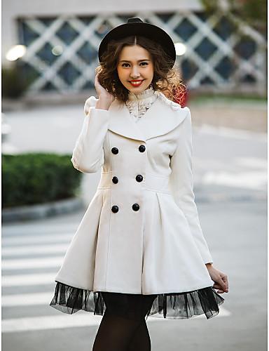 Damen - Volltonfarbe Arbeit Mantel Wolle