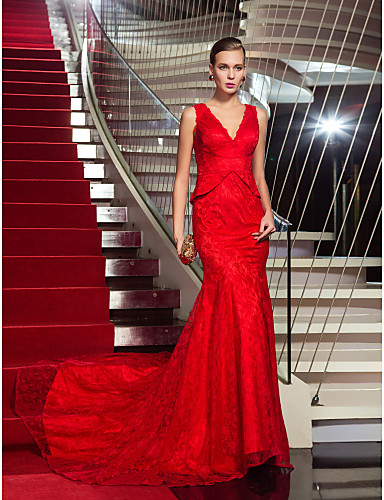 Mermaid / Trumpet V Neck Sweep / Brush Train Lace Formal Evening Military Ball Dress with Lace Pleats by TS Couture®