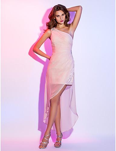 abordables robe invitée mariage-Fourreau / Colonne Une Epaule Asymétrique Mousseline de Soie Velours Robe avec Billes / Ruché par TS Couture®
