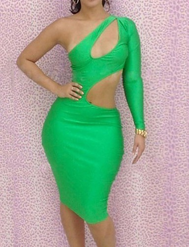 Women's Bodycon Dress - Solid, Cut Out Mini One Shoulder