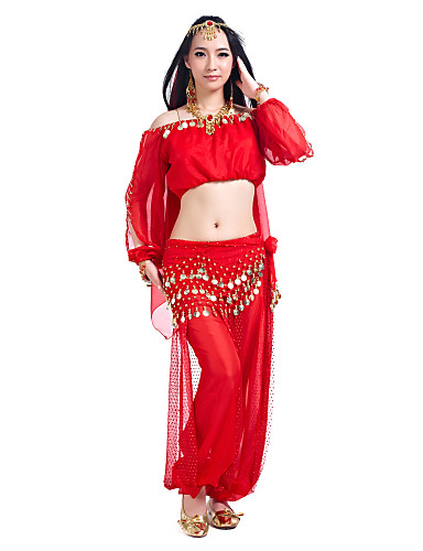 Belly Dance Outfits Women's Training Chiffon Sequin Long Sleeve / 60cm Top / Pants / Hip Scarf / Ballroom
