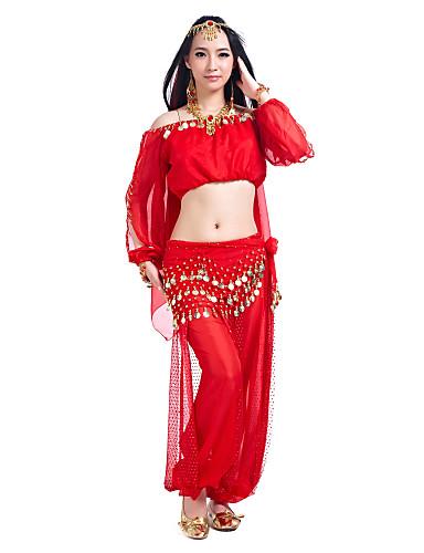 Göbek Dansı Kıyafetler Kadın's Eğitim Şifon Payet Uzun Kollu Top Pantalonlar Göbek Dansı Kalça Atkısı