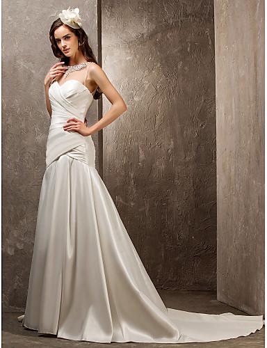 Mermaid / Trumpet Sweetheart Sweep / Brush Train Tulle Nylon Taffeta Wedding Dress with Beading Appliques Button Criss-Cross Side-Draped