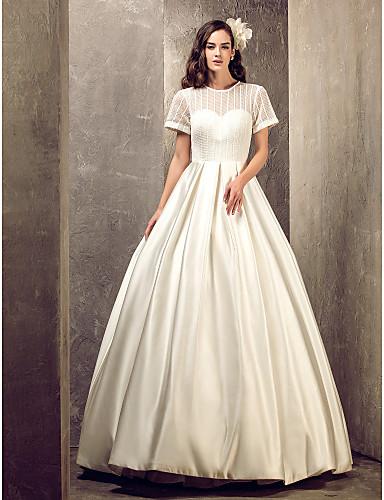 A-Şekilli Illüzyon boyun çizgisi Yere Kadar Saten Drape ile Kıyafetli Gelinlikler tarafından LAN TING BRIDE® / Transparan Elbiseler