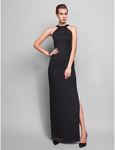 Sütun Boyundan Bağlamalı Yere Kadar Şifon Kristal Detaylar ile Resmi Akşam / Askeri Balo Elbise tarafından TS Couture®