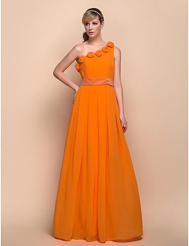 Sheath / Column One Shoulder Floor Length Chiffon Stretch Satin Bridesmaid Dress with Flower by LAN TING BRIDE®
