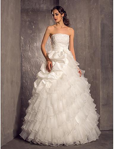 Princess Bez ramínek Na zem Organza Taft Svatební šaty s Perličky Aplikace Nabíraná sukně Květiny Vrstvené podle LAN TING BRIDE®