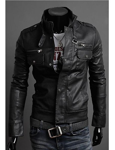 Mænds Zipper Collar Motorcykel Læder Mænds Jacket