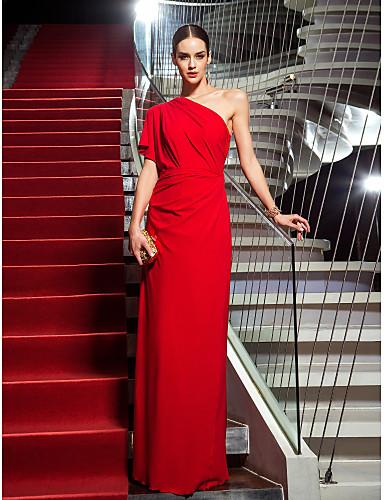 587e1d6df78e Åtsmitande Enaxlad Golvlång Jersey Formell kväll Klänning med Sidodraperad  av TS Couture®
