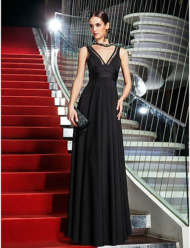 A-Linie Tiefer Ausschnitt Boden-Länge Jersey Promi-Stil Abiball / Formeller Abend Kleid mit Schleife(n) / Seitlich drapiert durch TS Couture®