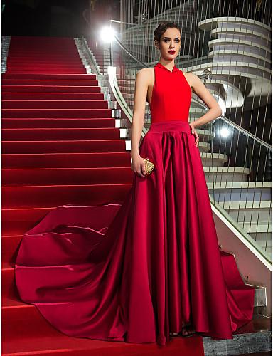 A-Linie Halter Asymmetrisch Satin / Jersey Formeller Abend / Militär Ball Kleid mit Schleife(n) durch TS Couture®